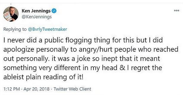 Jeopardy Host Ken Jennings for Insensitive Joke Tweet about Wheelchair People