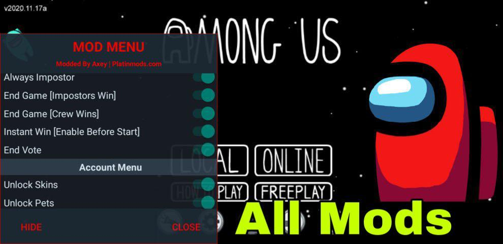 Among Us Hack Mod Menu Apk (Always Imposter, No Ban, All Skin Unlock and More) Download Now