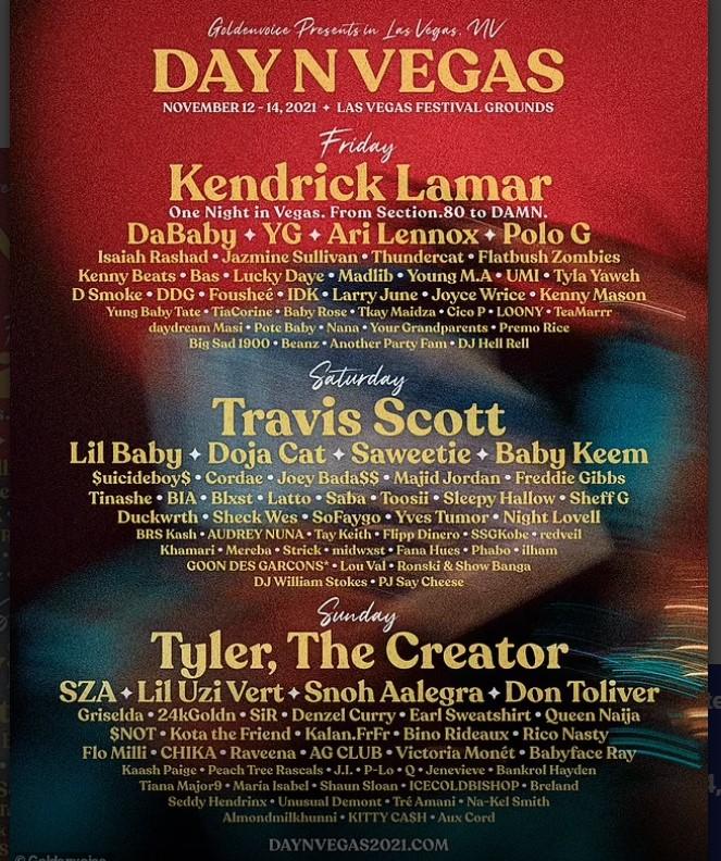 Kendrick Lamar, Travis Scott And Tyler, The Creator Lead 2021 Day N Vegas Lineup