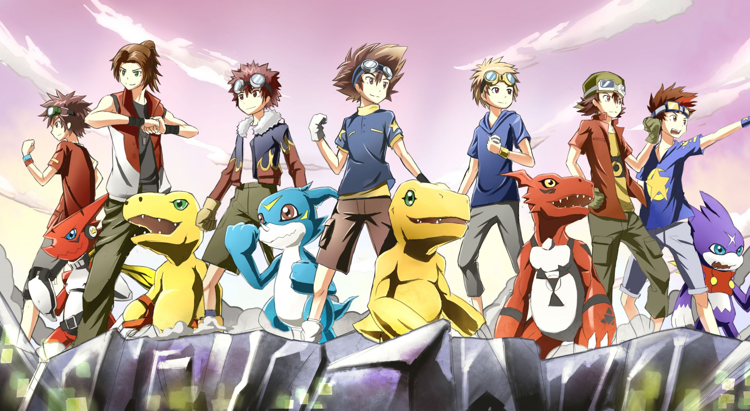 Digimon Adventure characters with their Digimons